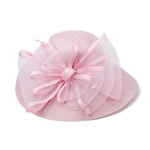 ChicHeadwear Womens Wide Brim Braid Hat w/ Ribbon and Drawstring - One size