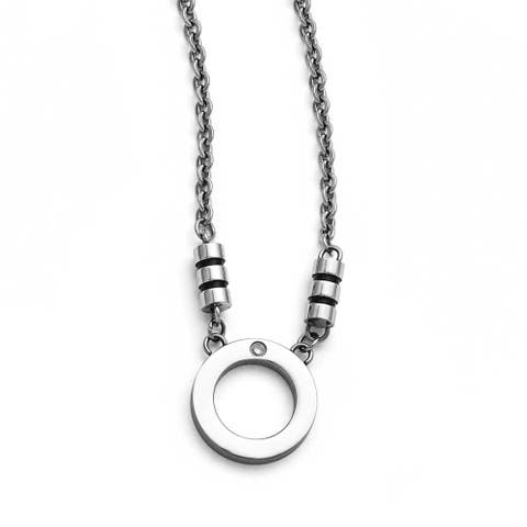 Chisel Stainless Steel Polished Black Enamel CZ Circle Necklace - 22.5 in
