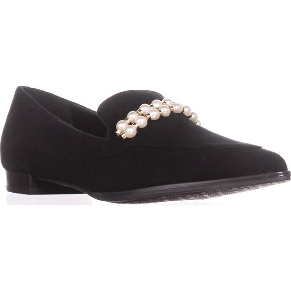 Marc Fisher Kneel Loafer Flats, Black Suede