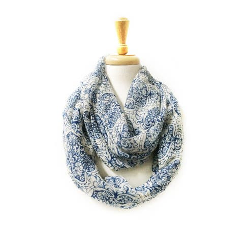 Lightweight Paisley Design Infinity Loop Scarf - size:circumference 68 inches x 35 inches