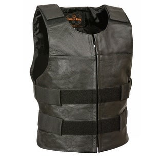 Mens Leather Zip Front Tactical Style Vest