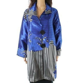 IC Womens Jacket Blue Size 2X Plus Dual Button Striped Floral Jacquard