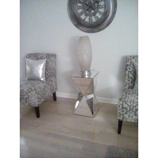 Charmant Rebecca Contemporary Multi Faceted Mirrored Side Table