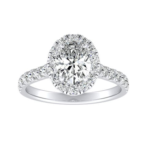 Auriya Platinum Classic Oval-cut 7/8cttw Halo Diamond Engagement Ring