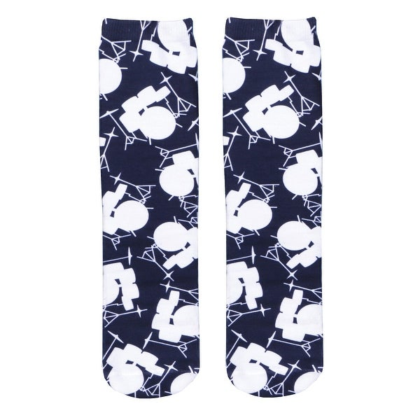 Living Royal Woman's Drums Socks - White Musical Instrument on Navy Blue - One size