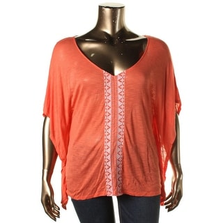 Cable & Gauge Womens Jersey Embroidered Poncho Top