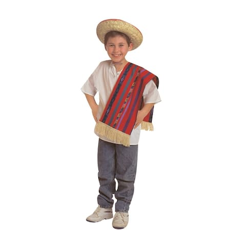 Children's Factory Multi-Ethnic Costume, Hispanic Origin, Shirt, Shawl and Hat