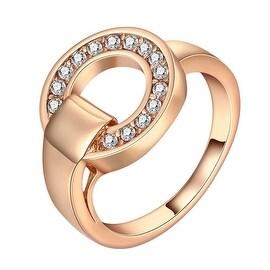 Rose Gold Plated Circular Abstract Emblem Ring