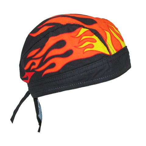 CTM® Men's Cotton Lined Flames Do Rag Cap
