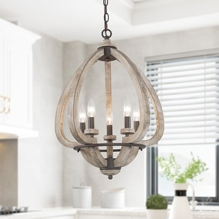 "Link to 5-light Flower Shape Wooden Chandelier Kitchen Island Pendant Lights - L17.7"" xW17.7 ""xH23.2"" Similar Items in Pendant Lights"