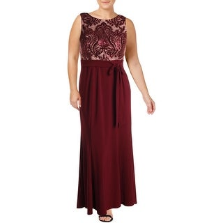 R&M Richards Womens Evening Dress Lace Sequined - Merlot/Nude