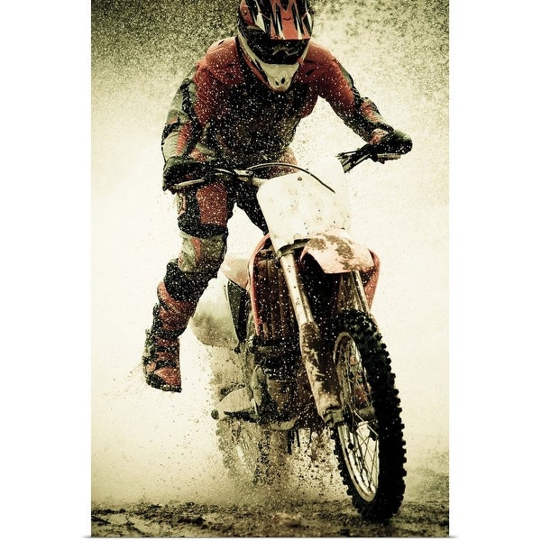 """Dirt bike rider splashes through water filled stream"" Poster Print"