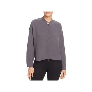 Eileen Fisher Womens Blouse Tencel Mandarin Collar
