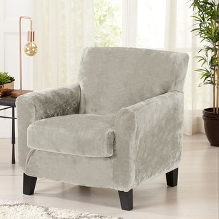 Link to Great Bay Home 2 Piece Velvet Plush Stretch Chair Slipcover Similar Items in Slipcovers & Furniture Covers