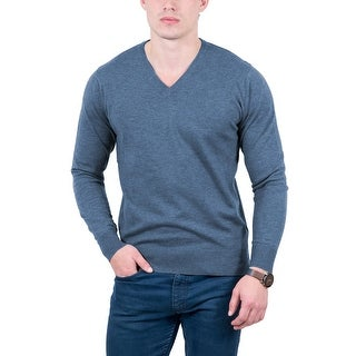 Real Cashmere Light Blue V-Neck Cashmere Blend Mens Sweater