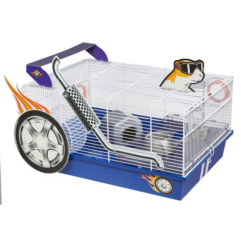 """Midwest Critterville Hod Rod Hamster Home 19.5"""" x 13.8"""" x 9.8"""" - White, Blue - 19.5"""" x 13.8"""" x 9.8"""""""