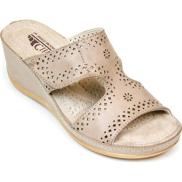 51f05a827bae Cliffs by White Mountain Women  x27 s Felina Perforated Slide Stone  Burnished Smooth Polyurethane