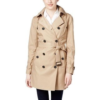 MICHAEL Michael Kors Womens Petites Trench Coat Double Breasted Hooded - pl