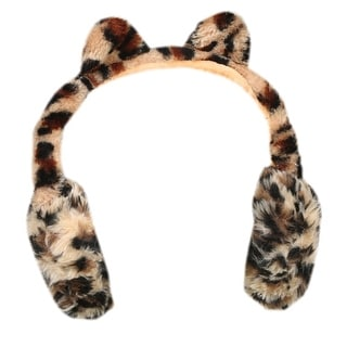 Fuzzy Leopard-Ear Headphones - Animal Print - Wireless Bluetooth Connection