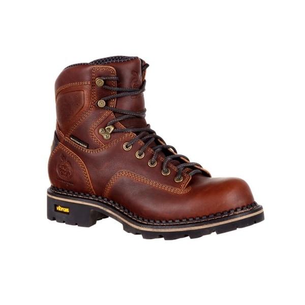 """Georgia Boots Work Mens 6"""" Comfort Core Logger Mesh Dark Brown"""