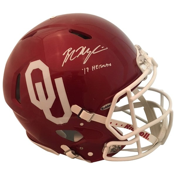 1e3f8d7bce7 Baker Mayfield Autographed Oklahoma Sooners Signed Authentic Full Size  Speed Helmet 2017 HEISMAN Be