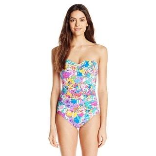 Anne Cole Womens Floral Twist Front One-Piece Swimsuit Multi-Color Size 16
