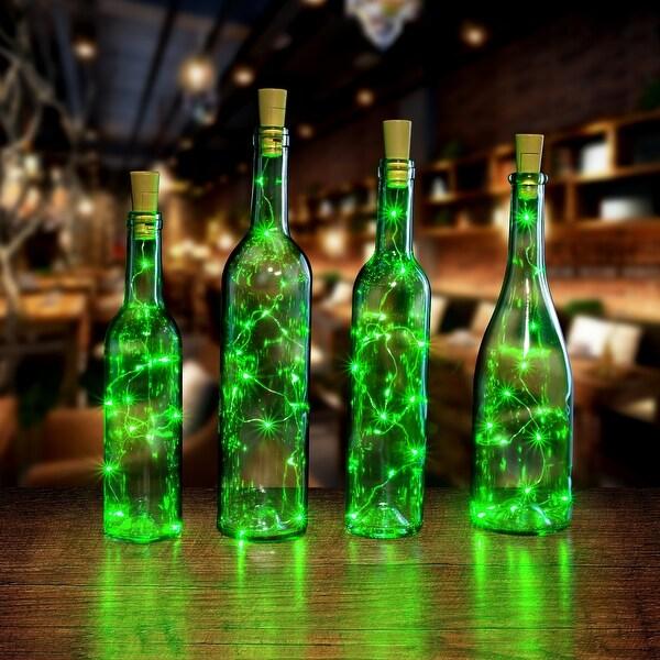 AGPtek 4PCS Cork shape lights Bottle Mini String Light 30inch for Decoration - Green