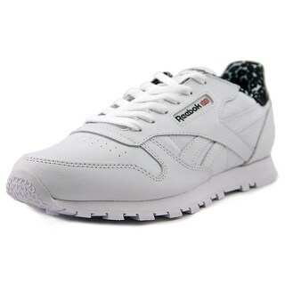 Reebok Classic Leather Animal Youth Round Toe Leather White Tennis Shoe