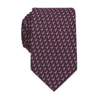 Susan G Komen Ribbon Logo Print Classic Tie Necktie Pink and Black - One Size Fits most