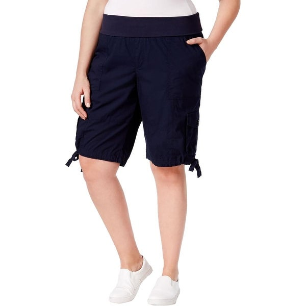 Calvin Klein Womens Plus Cargo Shorts Pleated Comfort Waist