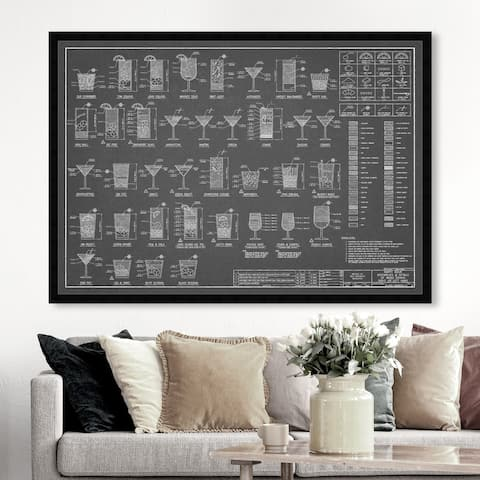 Oliver Gal 'Happy Hour Night' Drinks and Spirits Framed Wall Art Prints Cocktails - Gray, White