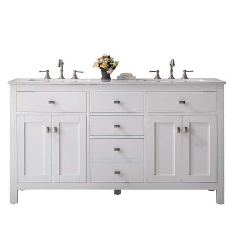 "Totti Artemis 60"" White Transitional Double Sink Bathroom Vanity wWhite Carrara Style Man-Made Stone Top"
