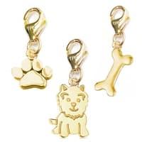 Julieta Jewelry Dog, Paw, Dog Bone 14k Gold Over Sterling Silver Clip-On Charm Set