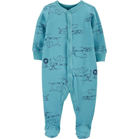 Carter's Baby Boys' Cotton Snap-Up Sleep & Play, Zoo Animals, Newborn