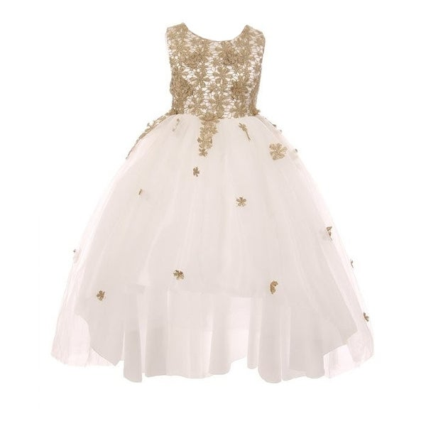 9f631bbce7dc Shop Little Girls White Gold Glitter Embroidered Hi-Low Flower Girl Dress -  Free Shipping On Orders Over $45 - Overstock - 20272041