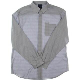 Elie Tahari Mens Checkered Cotton Button-Down Shirt