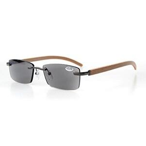Eyekepper Spring Hinges Wood Arms Rimless Reading Glasses Grey Lens +1.25