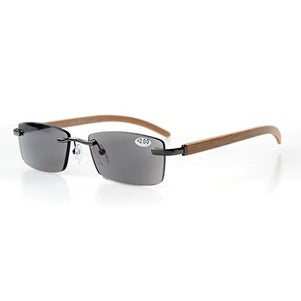 6f302c7c384aa Shop Eyekepper Spring Hinges Wood Arms Rimless Reading Glasses Grey Lens  +1.75 - Free Shipping On Orders Over  45 - Overstock.com - 15947218