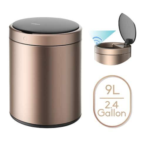 2.4 Gallon Automatic Trash Can, Rose Gold Touchless Motion Sensor Bin Soft Close Lid, 9L IPX4 Waterproof Office, Bathroom