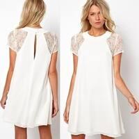 Women's Lace Panel Chiffon Dress