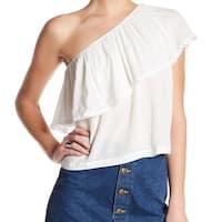 Lush NEW White Womens Size Medium M Crochet-Trim One-Shoulder Blouse