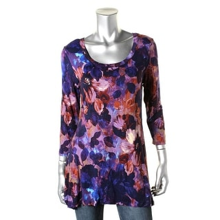 Cupio Womens Floral Print 3/4 Sleeves Pullover Top - M