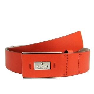 Gucci Men's Leather Hidden Buckle Trademark Belt 353345