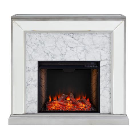 """33.25"""" Silver and White Antique Mirrored Smart Fireplace with Alexa Technology"""