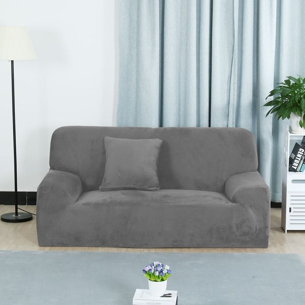 Delicieux Unique Bargains Silver Gray Elastic Fabric Stretch Sofa Covers Couch Sofa  Slipcovers