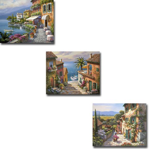 Tuscan Riviera by Sung Kim 3-pc Gallery Wrapped Canvas Giclee Set (12 in x 15 in Each Canvas in Set)