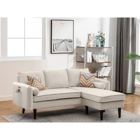 Mia Beige Linen Fabric Sectional Sofa Chaise with USB Charger & Pillows
