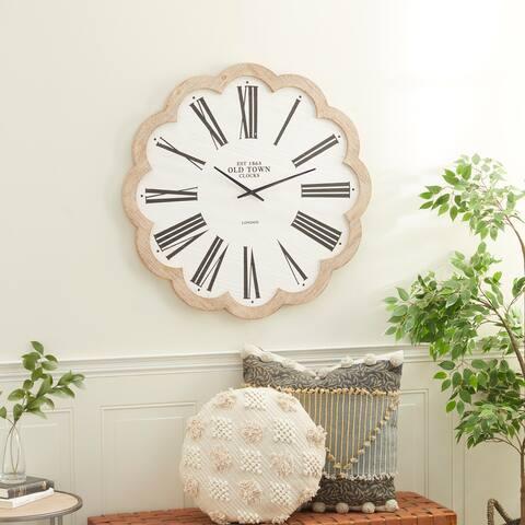 White Wood Farmhouse Wall Clock 33 x 33 x 1 - 33 x 1 x 33
