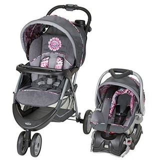 Baby Trend EZ Ride 5 TRAVEL SYSTEM, Foldable Baby CAR SEAT STROLLER, Paisley