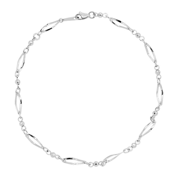 Just Gold Oval & Beaded Link Anklet in 10K White Gold